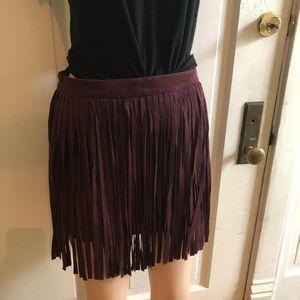Fringe faux suede mini skirt